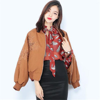 Spring Autumn New Women Embroidery Flowers Basic Jacket Loose Casual Solid Color Jacket Coat Fashion Female