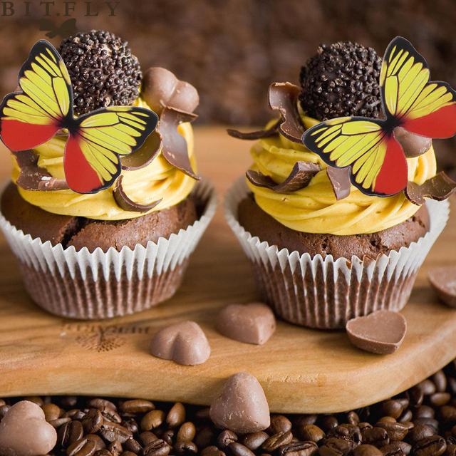 BITFLY 50 Pcs Cupcake Toppers Paper Butterfly Wedding Cake Topper ...