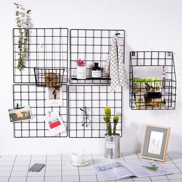 Creative Black Grid Wall Hanging Storage Shelf Wall