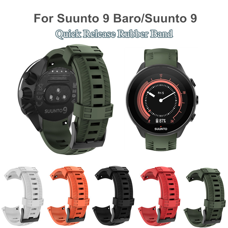Para suunto 9/suunto 9 brao pulseira de relógio de silicone ao ar livre fivela preta liberação rápida borracha substituição para suunto 9/9 brao