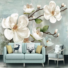 3d magnolia simple TV background wall custom large wallpaper mural 3D photo manufacturers wholesale