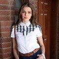 Veri Gude Estilo Verão Estilo Britânico Camisa de Algodão Das Mulheres da Manta de Retalhos Camisa de Manga Curta