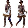 2016 Плюс Размер Африканских Одежды Традиционный Dashiki Африканских Печати Два Piece Set Разделить Топ И Длинные Брюки Bodycon Сексуальная Клуб носить