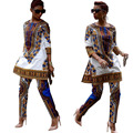 2016 Plus Size African Clothing Traditional Dashiki African Print Two Piece Set Split Top And Long Pants Bodycon Sexy Club Wear