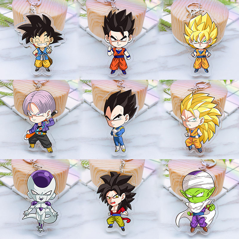 Anime Dragon Ball Z Son Goku Acrylic Twoside Print Keychain Super Saiyan Vegeta Frieza Cartoon Figures Keyrings Portachiavi Toys