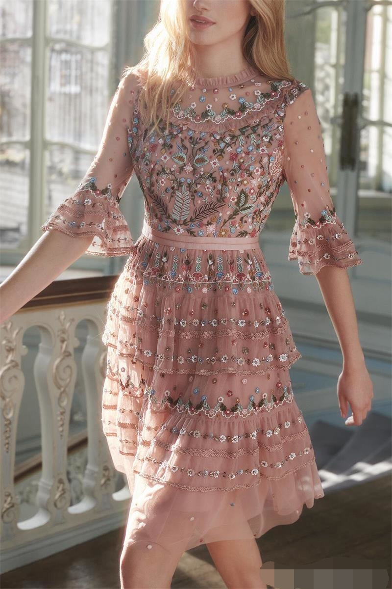 Women Runway Dress 2019 High Quality Floral Embroidery Mesh Dress Ruffle Collar Flare Half Sleeve Woman Casual Dress