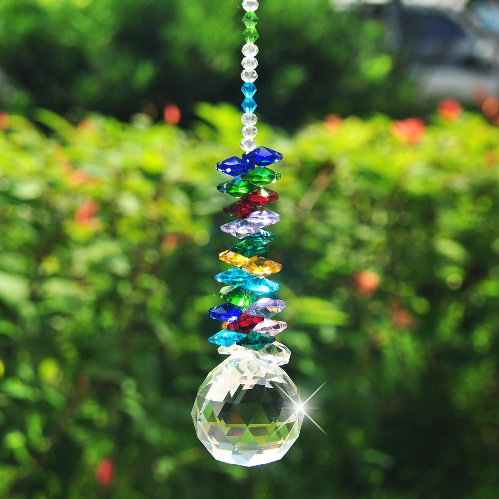 H & D Chakra Sun Catcher 40mm Clear Crystal Ball Prisma Rainbow Octagon Beads Ornaments Hanging Suncatcher
