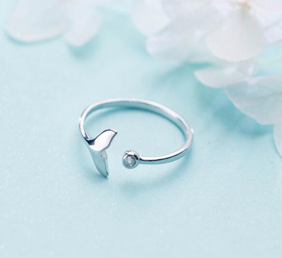 RYOUCUTE 100% Real Silver Color Jewelry Fashion Cute Crystal Mermaid Tail Rings for Women Statement Antique Ring Anillos 2