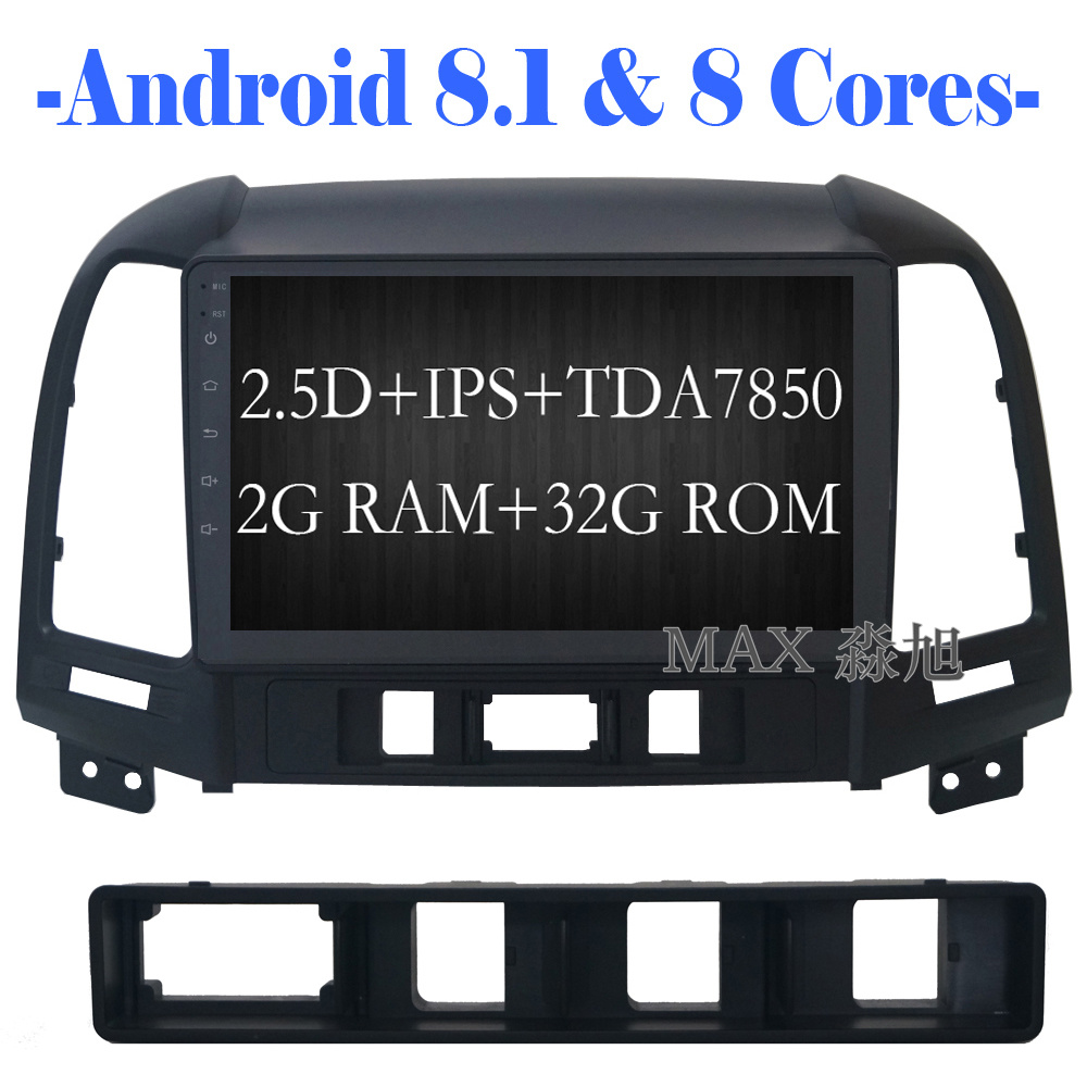 Sale MAX Android 8.1 2G 32G 8 Core Car DVD Player for Hyundai santa fe 3/4holes with 2.5D+IPS Screen car stereo radio RDS Maps swc 0