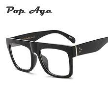 Pop Age Retro Brand Designer Square Clear lens glasses Women Men Celebrity Eyeglasses Frames High quality Plain Oculos
