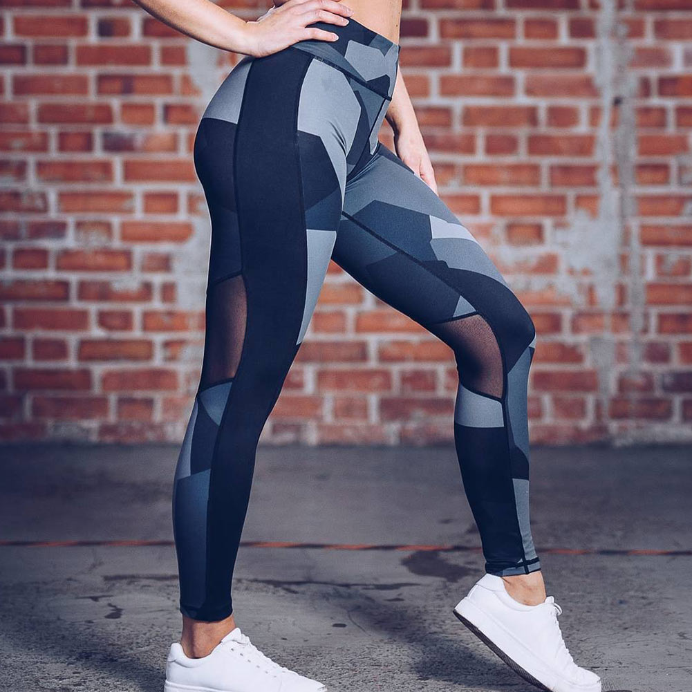 Sexy Women Mesh Patchwork Sport Leggings Printed Elastic Fitness Outdoor Running Gym Yoga Pants Quick Drying Trainning Trousers