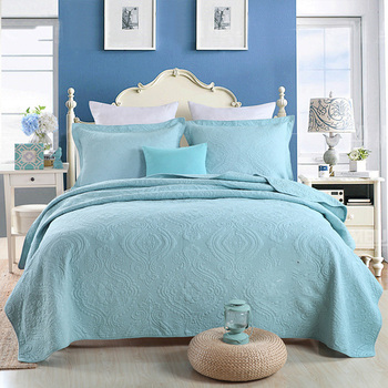 CHAUSUB Coverlet Cotton Quilt Set 3PC King Size Embroidered Bedspread Quilted Bed Cover Bed Sheets Pillowcase Blue Bedding
