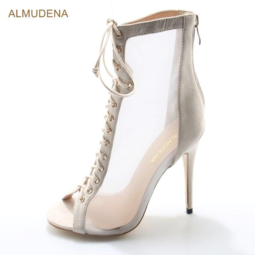 ALMUDENA Elegant Ladies Beige Suede Dress Sandal Boots Peep Toe Lace-up Transparent Mesh Patchwork Banquet Shoes Thin High Heels