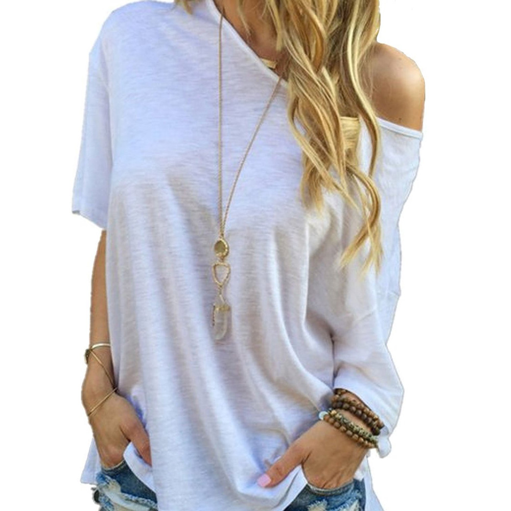 2017 Summer T shirts Women Sexy Off Shoulder Tees Fashion Causal Loose Split Solid Top T-shirts Camisas Femininas Plus Size 3XL