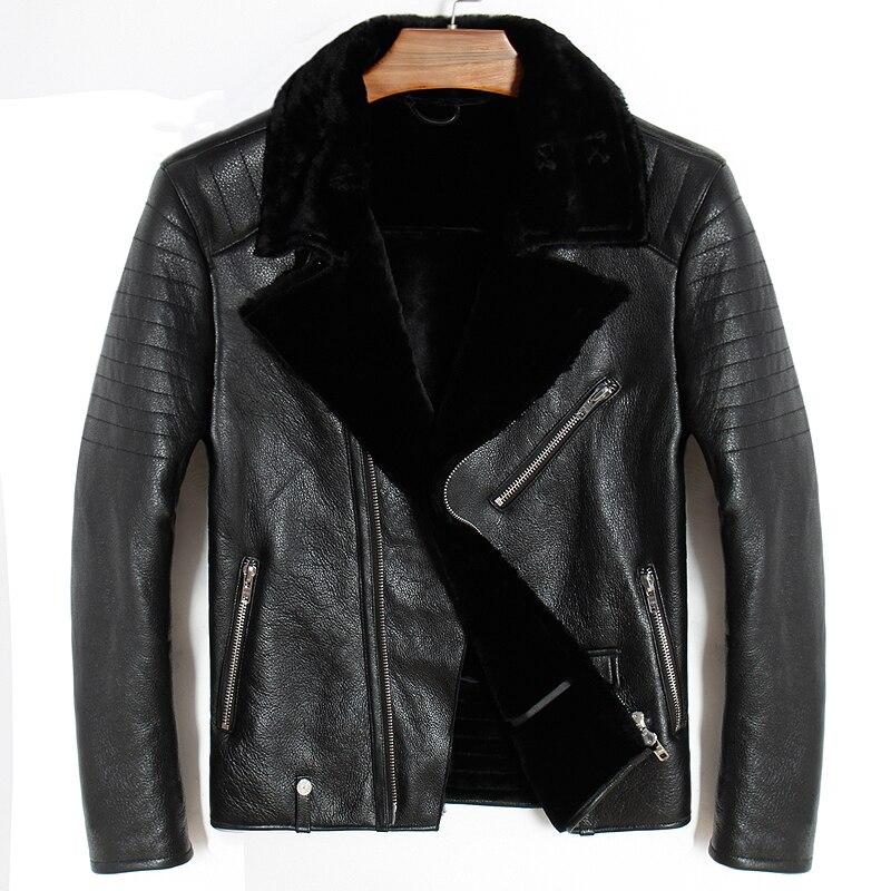 Бесплатная доставка. Мужская куртка из натуральной кожи большого размера. байкерское пальто с овечьим мехом, зимние теплые куртки из овечье...