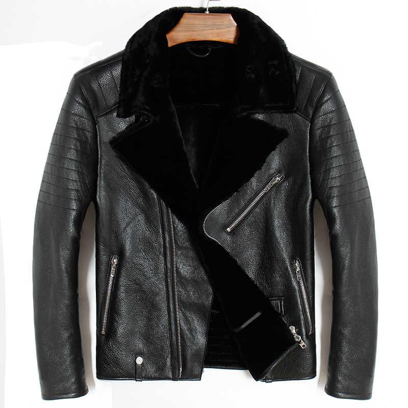 e13197df584 Мужская куртка из натуральной кожи большого размера. байкерское пальто с  овечьим мехом