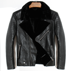 Image 1 - Free shipping.Mens plus size genuine leather jacket.motor biker sheep fur coat,winter warm 100% sheepskin clothes.soft shearling