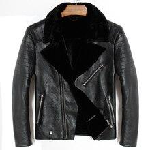 Frete grátis. masculino mais tamanho couro genuíno jacket.mo tor motociclista casaco de pele de ovelha, inverno quente 100% roupas de pele de carneiro. shearling macio