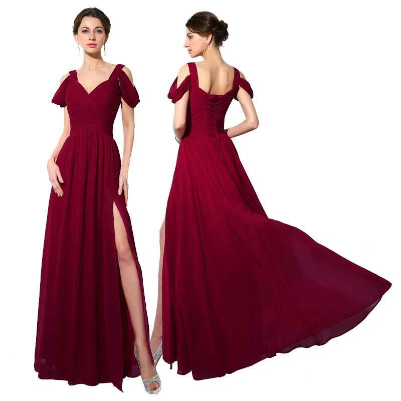 Elegant Off Shoulder Chiffon Bridesmaid Dress 1