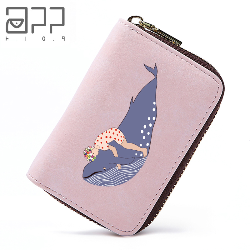 APP BLOG Romantic Whale Women Card Holder Wallets Small Female Pillow Purse Credit ID Card Case Passport Cover Feminina Mujer