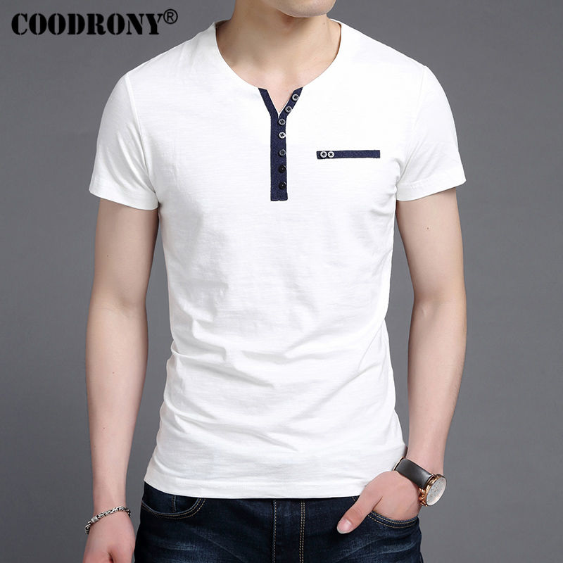 Coodrony 2017 summer new arrival fashion button henry for Button collar t shirt