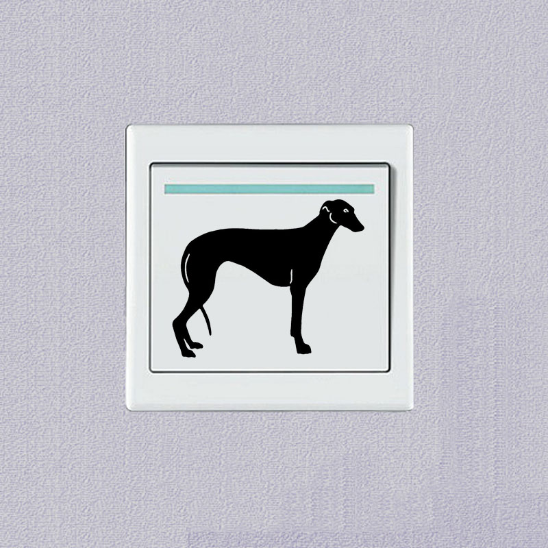 Greyhound Pet Dog Cute Animal Switch Sticker Vinyl Decoration Wall Sticker 2SS0701