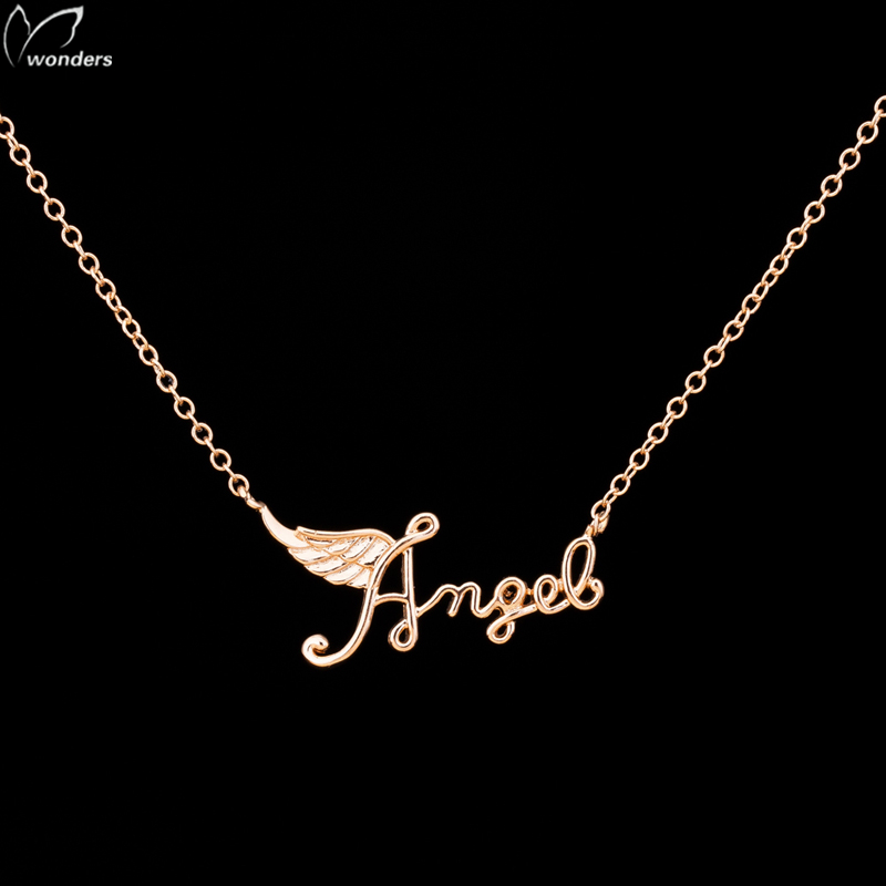 2016 new arrival necklace christmas gift charm angel letter gold silver chain wing pendant necklace sideways
