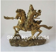free shipping Shipping Chinese bronze brass Guan Gong on horse Statue