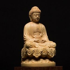 Image 3 - 9.5/13Cm Hout Bouddha Standbeeld Houten Carving Boeddha Buda Estatua Shakyamuni Craft Bodhisattva Sculptuur Voor Home Decor