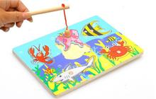 Exempt postage,wooden toys,small fishing board, magnetic fishing game, the shape of block matching, children's educational toys shark bite game funny toys desktop fishing toys kids family interactive toys board game
