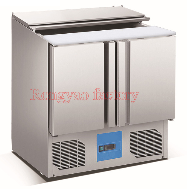 2 door 4 tank salad refrigerator display fresh keeping for Stainless steel kitchen cabinet price