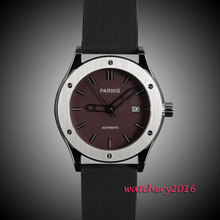 44mm parnis Brown dial date adjust top brand Luxury Newest Hot Fashion rubber strap movement automatic Mechanical men's watch