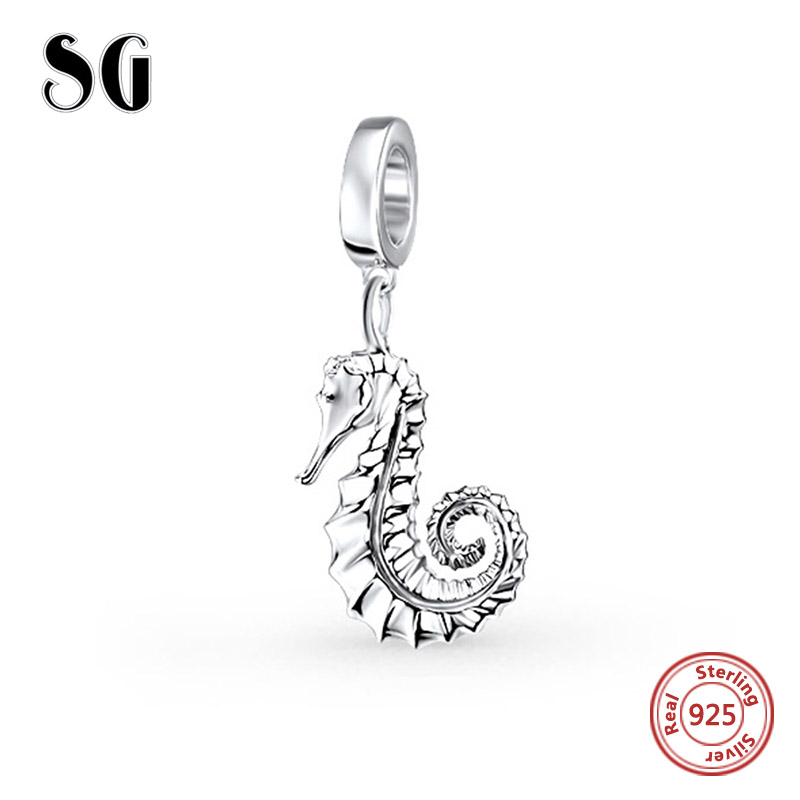 Lucky sea horse Beads Fit pandora Charms Bracelet 2017 Summer Animal Bead Original 925 Sterling Silver Beads For Jewelry Making