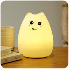 7 colors cute cat lamp colorful light silicone cat night lights children usb led night lamp bedroom rechargeable touch sensor USB Rechargeable Rainbow Color Changing Silicone Cat Night Lights Bedside Lamp Children Cute Night Lamp Christmas Bedroom Light