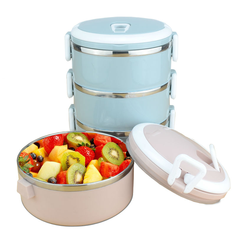 3 Layers leakproof 304 Stainless Steel lunch Box Portable Picnic Food Container bento tiffin box thermal storage box image