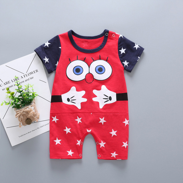 f08ea66c4c0d Cute big eye Baby Rompers summer Short sleeve Newborn Baby Boy clothes  Jumpsuit baby girls Clothes