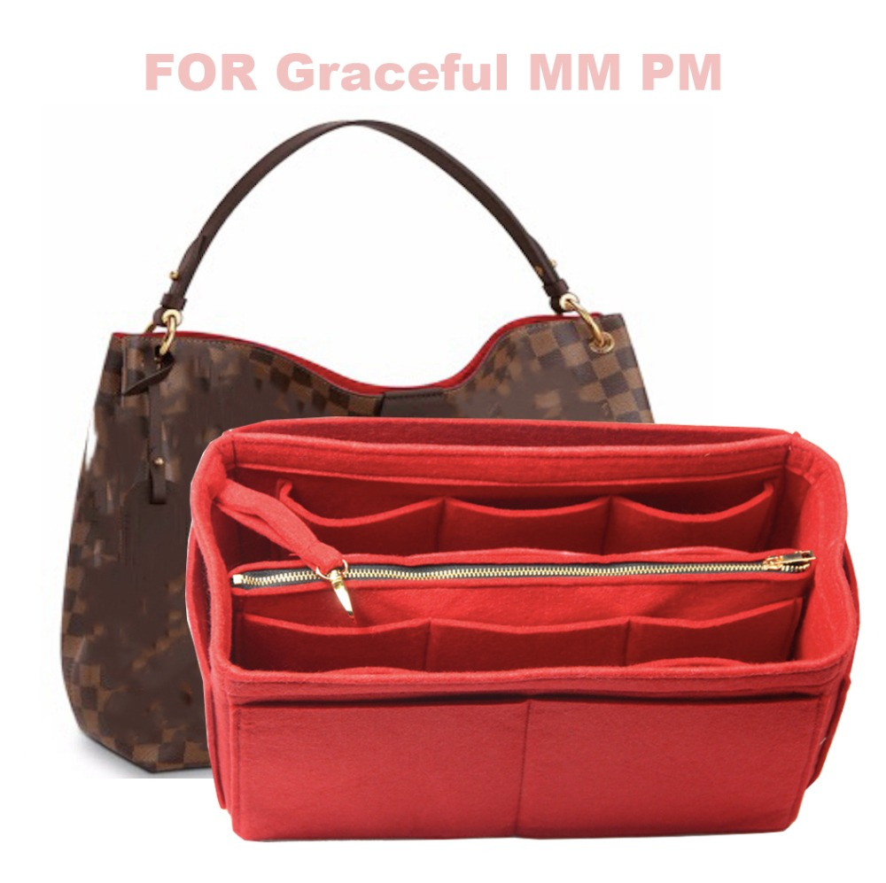 For Graceful MM PM Organizer Purse Insert 3MM Felt Tote Bag Organizer Pockets( Detachable Pouch W/Metal Zip)