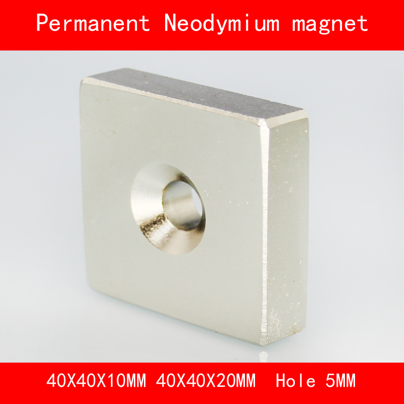 square block magnet 40*40*20MM 40*40*10MM hole 5MM n35 Rare Earth strong Permanent NdFeB Neodymium Magnet 10x5 4mm cylindrical ndfeb n35 magnet w hole silver 10pcs