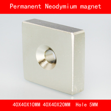 square block magnet 40*40*20MM 40*40*10MM hole 5MM n35 Rare Earth strong Permanent NdFeB Neodymium Magnet