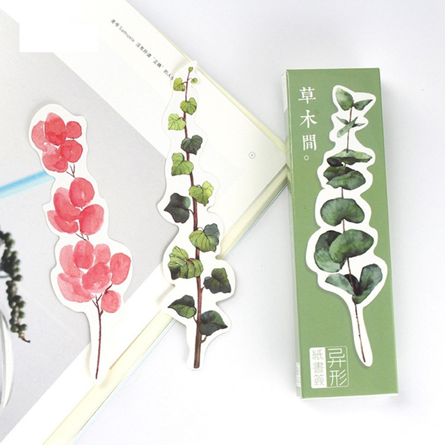 10 Set Lot Green Grass Bookmark Cactus Flower Paper Book Marks