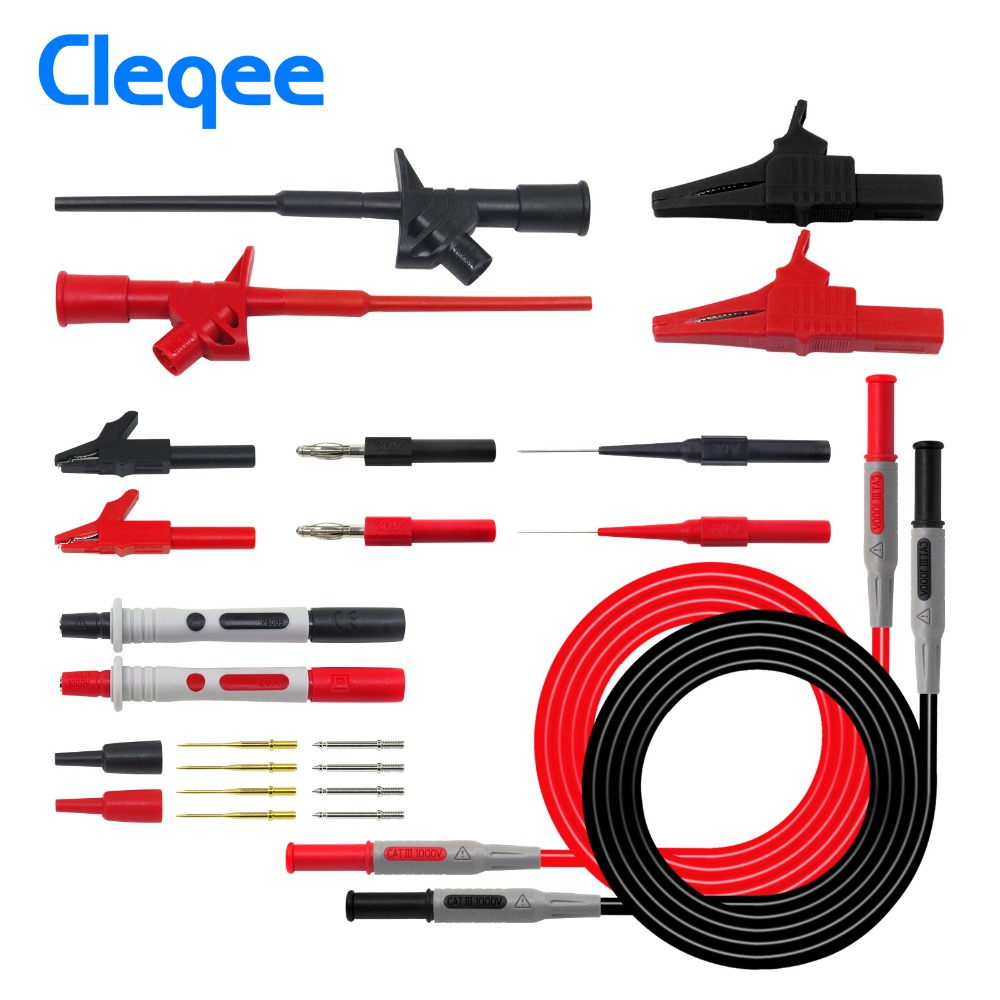 Cleqee P1600C test leads for multimeter Test Lead kit Automotive Test Probe Multimeter probe Piercing Test Hook Alligator clip 10 pcs multimeter test probe cable single hook clip grabber yellow