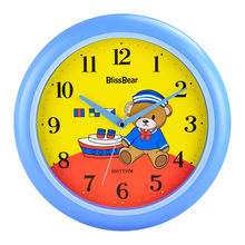 RHYTHM 12inch Cute Bear Circular Bedroom Wall Clock Silent Quartz Movement Cartoon Clock  Children's room Clocks Precise time
