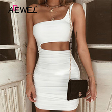 ADEWEL Sexy Sleeveless Ruched Mini Club Dress Women One Shoulder Backless Bodycon Party 2019 Female Summer Short Vestidos