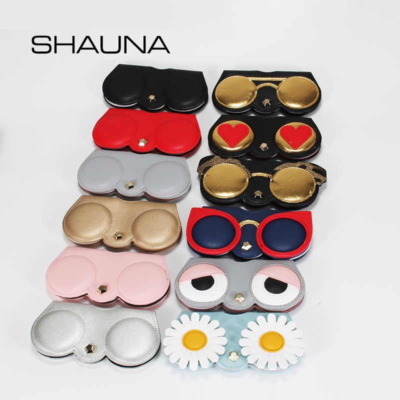 SHAUNA Unique PU Leather Glasses Bag Ins Popular Cute Cartoon Multi-function Eyeglasses Case Women Sunglasses Storage Protection