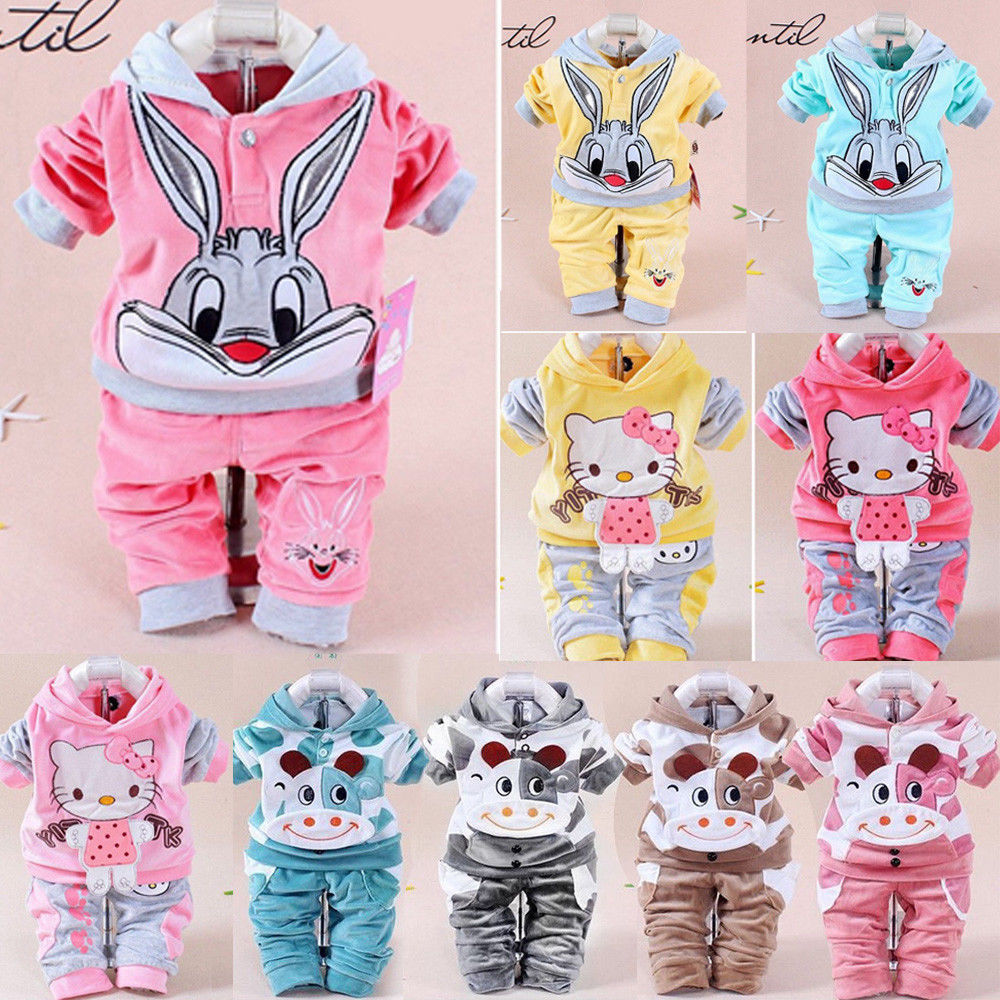2Pcs Infant Baby Boy Girl Cartoon Hooded Velvet Clothes Tops + Pants Childrens Outfit Set Rabbit Cat Cow Girls Clothes