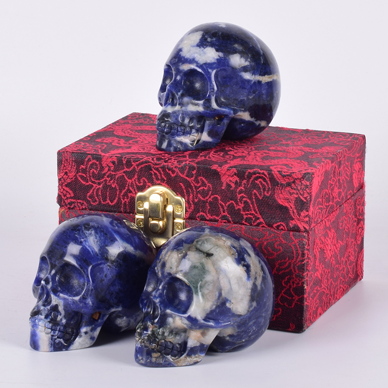 Sodalite Skull Figurine &Gift Box Set 3 Natural jade Hand Carved Statue Healing Stone Meditation Craft For Feng Shui Decor