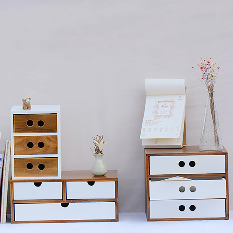 Retro Contracted Receive Drawer Type Cosmetics Storage Box Desktop Finishing Creativity Ark Of Wooden Household Receive Supplies drawer