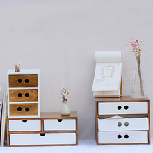 Retro Contracted Receive Drawer Type Cosmetics Storage Box Desktop Finishing Creativity Ark Of Wooden Household Receive Supplies