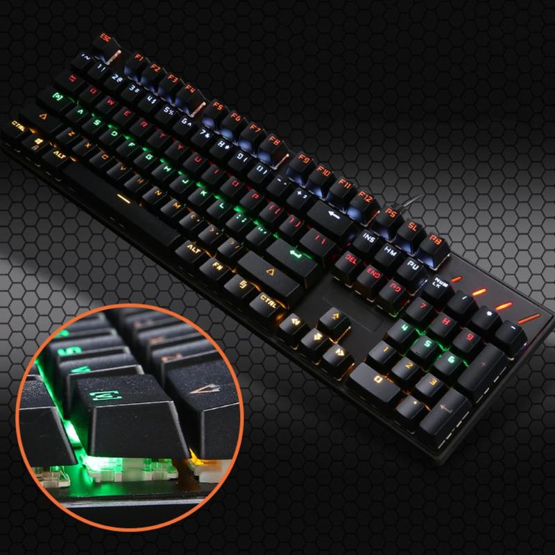 Mechanical LED Keyboard USB Wired 104 Standard Keys Metal Gaming Keyboard with Colorful Backlight for LOL Game for Desktop