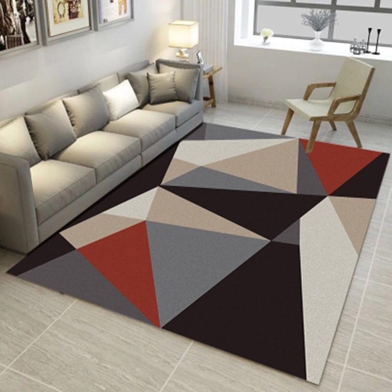 Modern 3D Carpet Sofa Living Room Coffee Table Bedroom Floor Mat Minimalist Geometric Pattern Nordic Short Hair Plush Fabric Rug